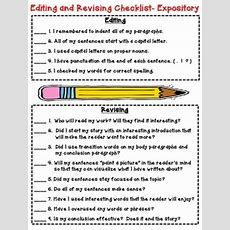 Editing And Revising Checklist For Expository Writing (grades 35) Bonus Paper
