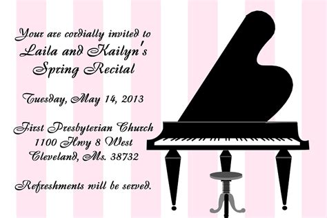 dueling card templates piano recital invitations dueling black baby grand piano