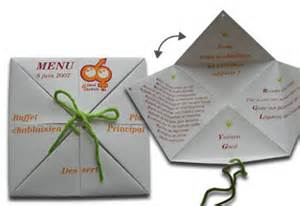 menu de mariage original cocottes on mariage origami and animation
