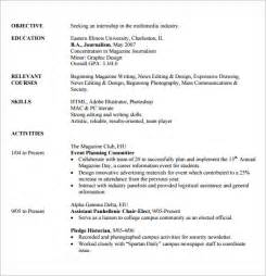 exles of internship resumes internship resume template 7 free documents in pdf word