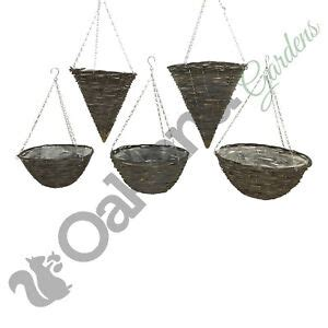 natural wicker dark rattan hanging basket  cone coned    lined chain ebay