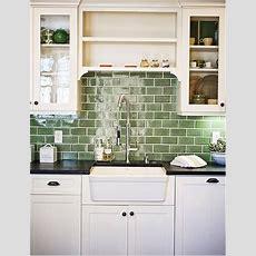Green Subway Tile Backsplash In White Kitchen Eco