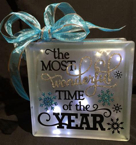 glass christmas light box holiday decor glass block light or night light christmas
