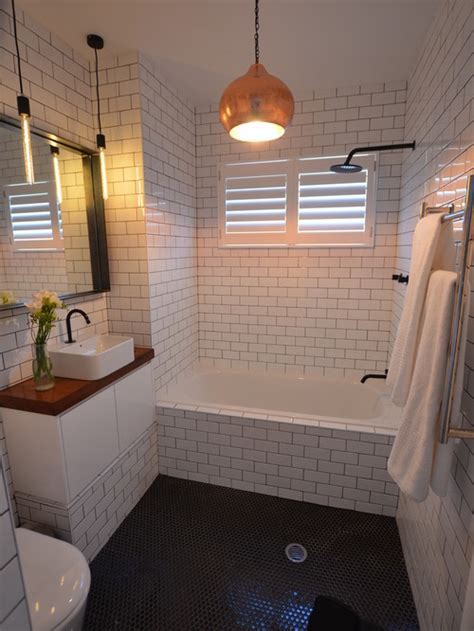 White Tile Bathroom with Cute Accent Colors   Resolve40.com