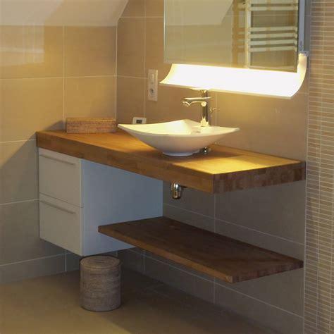 plan de travail en teck pour salle de bain maison design lockay