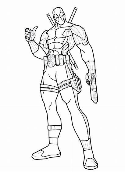 Deadpool Coloring Pages Chibi Printable Drawing Dead