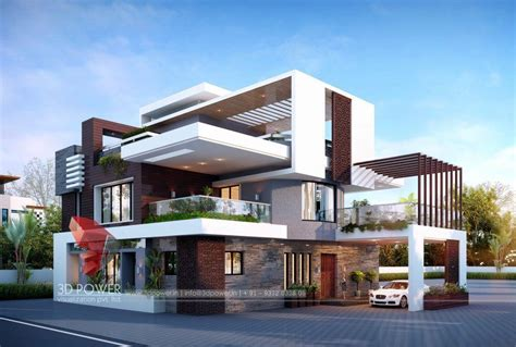 Western View Home Design Ltd by 3d Animation Studio Bungalow Day View Architecture House