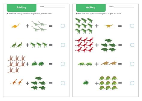 dinosaur addition worksheets  early years primary