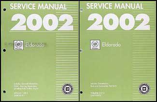car maintenance manuals 1997 cadillac eldorado user handbook 2002 cadillac eldorado repair shop manual original 2 volume set