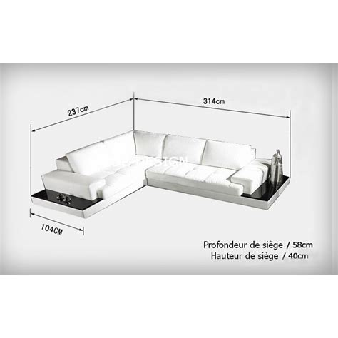 canap d angle dimension canapé d 39 angle design en cuir loretto avec casiers de