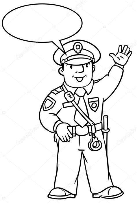 Kleurplaat Politie Logo by Grappige Politieagent Kleurboek Stockvector