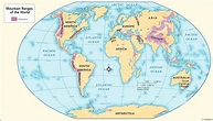 World map of major mountain ranges and travel information ...