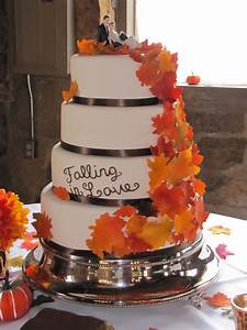 Fall Leaves Wedding Cake - CakeCentral com