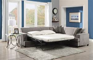 Gray fabric cover modern sectional sleeper sofa queen with for Memory foam sectional sofa bed