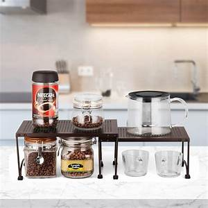 2, Pcs, Kitchen, Cabinet, Counter, Shelf, Organizer, Rack, Expandable, Stackable, Storage, 730718619361