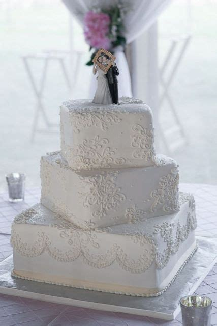 picture   white patterned wedding cake   cute