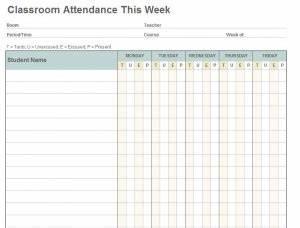 Printable Attendance Register Class Attendance Template Class Attendance Sheet Template