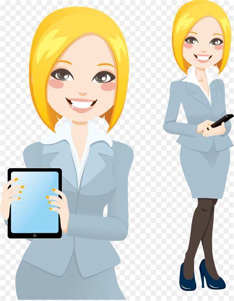 cartoon illustration business career woman vector