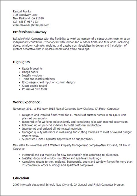 few credits of ba on cover letter professional finish carpenter templates to showcase your