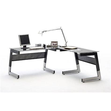 black glass corner desk mili black and clear glass corner computer desk with metal