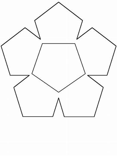 Pentagon Shapes Coloring Flower Simple Pages Shape