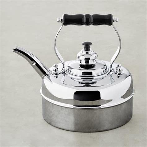 simplex kensington    newey bloomer chrome traditional tea kettle williams sonoma