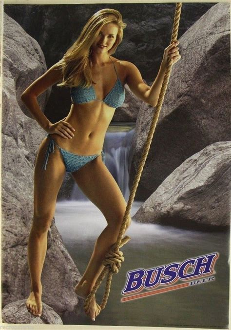 BUSCH beer poster hot blonde girl in bikini swinging on