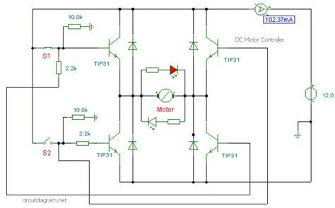 dc motor controller  transistor tip circuit scheme
