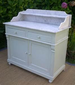 joli meuble d39appui ancien meuble de toilette en bois peint With meuble de salle de bain avec dessus en marbre