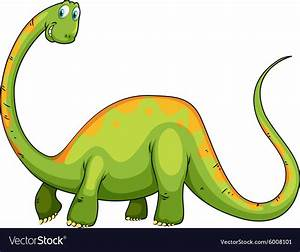 Dinosaur With Long Neck And Tail Royalty Free Vector Image
