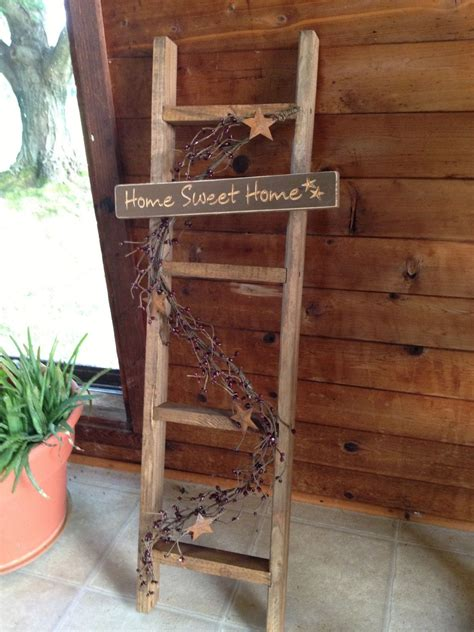 rustic home sweet home decorative wooden ladder with