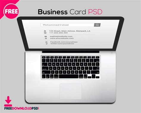 laptop business card psd freedownloadpsdcom