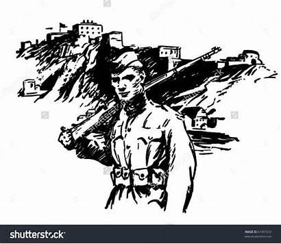 War Clip Clipart Soldier Ii Vector Retro