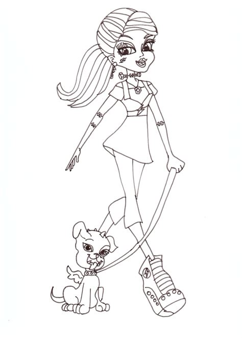 printable monster high coloring pages frankie stein