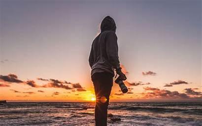 Photographer Sea Sunset Background 4k Shore Cool
