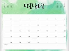Free October 2018 Calendar in Printable Format Templates