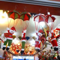 christmas home ceiling decorations parachute 24cm santa claus smowman new year hanging pendant