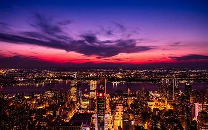 Night Lights York Purple Metropolis 4k Sky