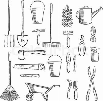 Tools Sketches Gardening Farming Shovel Drawing Fork