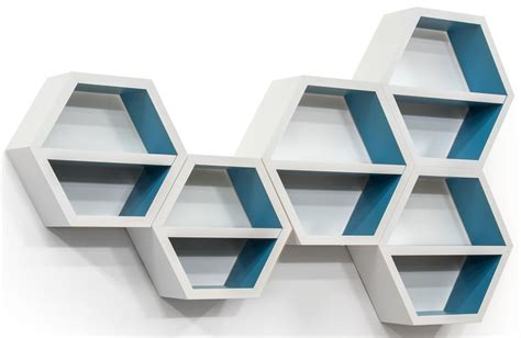 Floating Hexagonal Shelves Wall Mounting Hardware Included