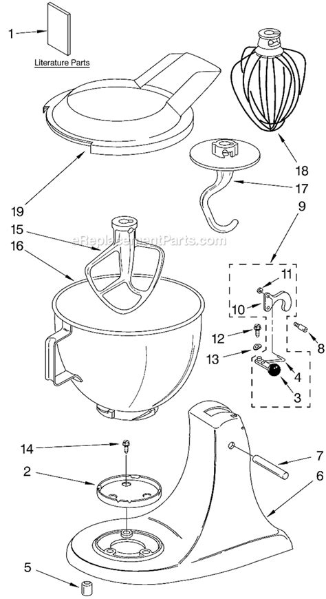 Kitchenaid Mixer Electrical Smell by Kitchenaid 4k45ss Parts List And Diagram Series
