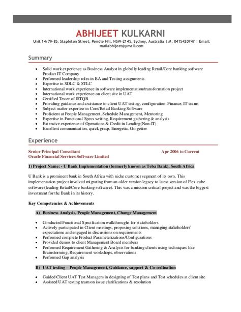 Test Analyst Resume Sles by Abhijeet Resume