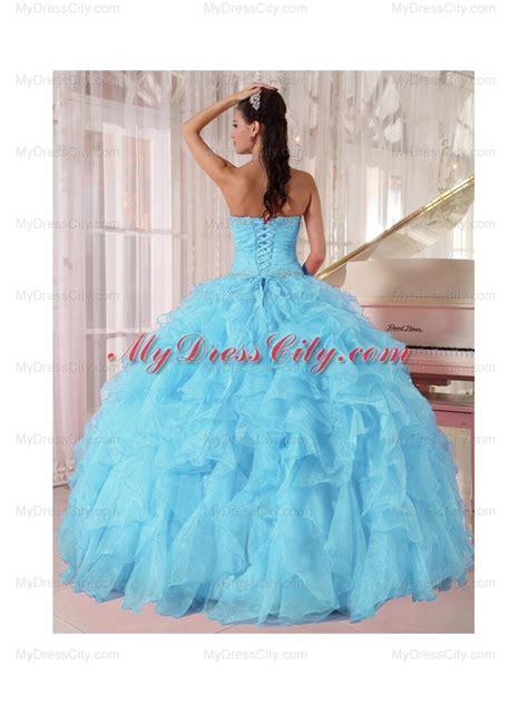 light blue 15 dresses light blue ball gown strapless ruffles organza beading