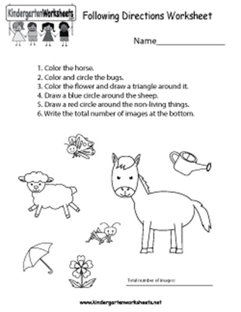 free kindergarten social studies worksheets learning 821 | following directions worksheet