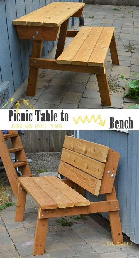turn  picnic table  bench  ana white plans