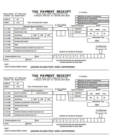 payment receipt formats  ms word