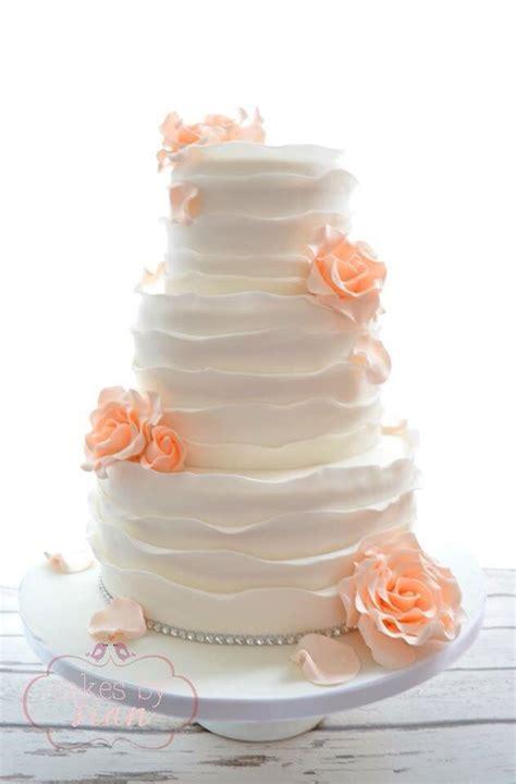 Peach Rose And Rustic Ruffles Wedding Cake Wedding Ideas
