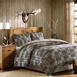 beautiful tan taupe beige blue brown country cabin plaid cotton comforter set ebay