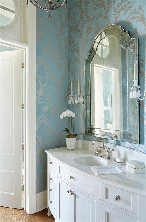 silver  blue powder room wallpaper transitional