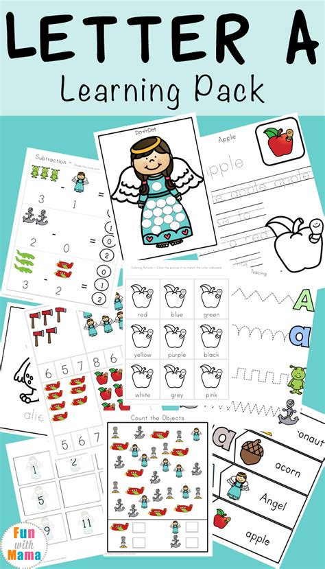 letter a preschool printable pack with 228 | Letter A Learning Pack